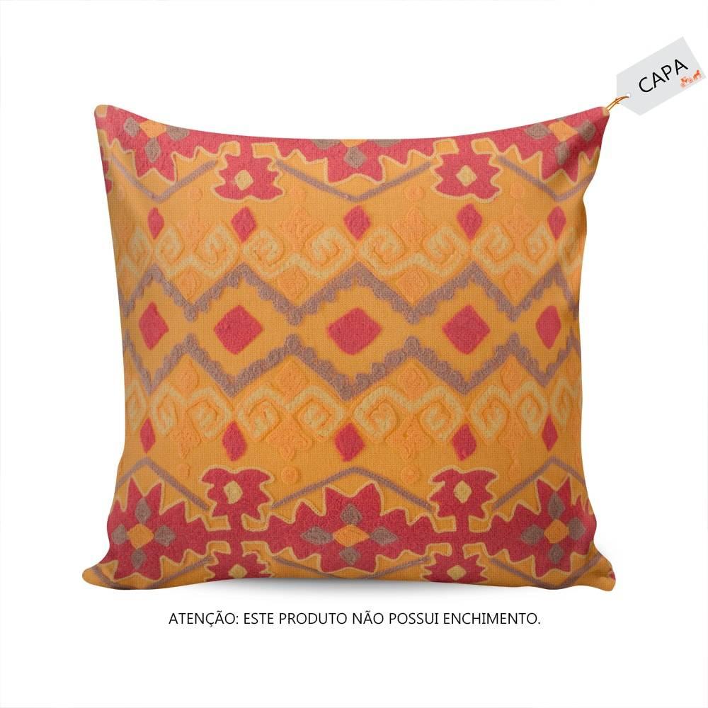 Capa para Almofada Leela Laranja em Algodão - 45x45 cm