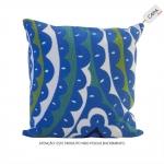 Capa para Almofada Lindsay Azul em Algodão - 45x45 cm