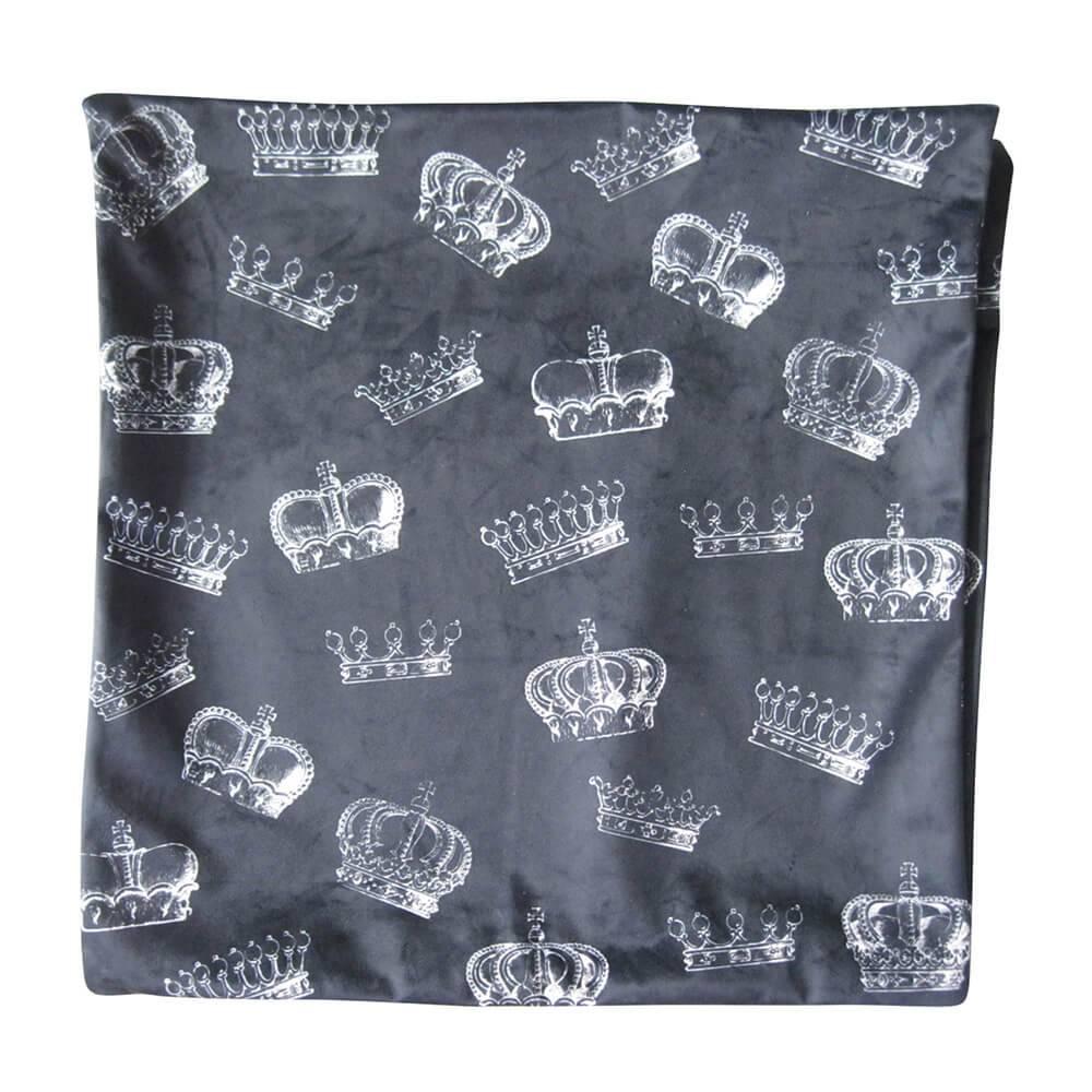 Capa para Almofada Loft Crowns Preto em Poliester - Urban - 45x45 cm