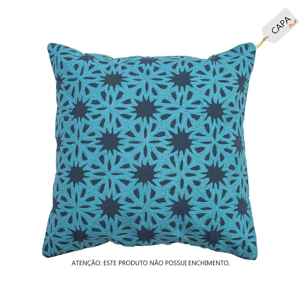 Capa para Almofada Malik Azul em Algodão - 45x45 cm