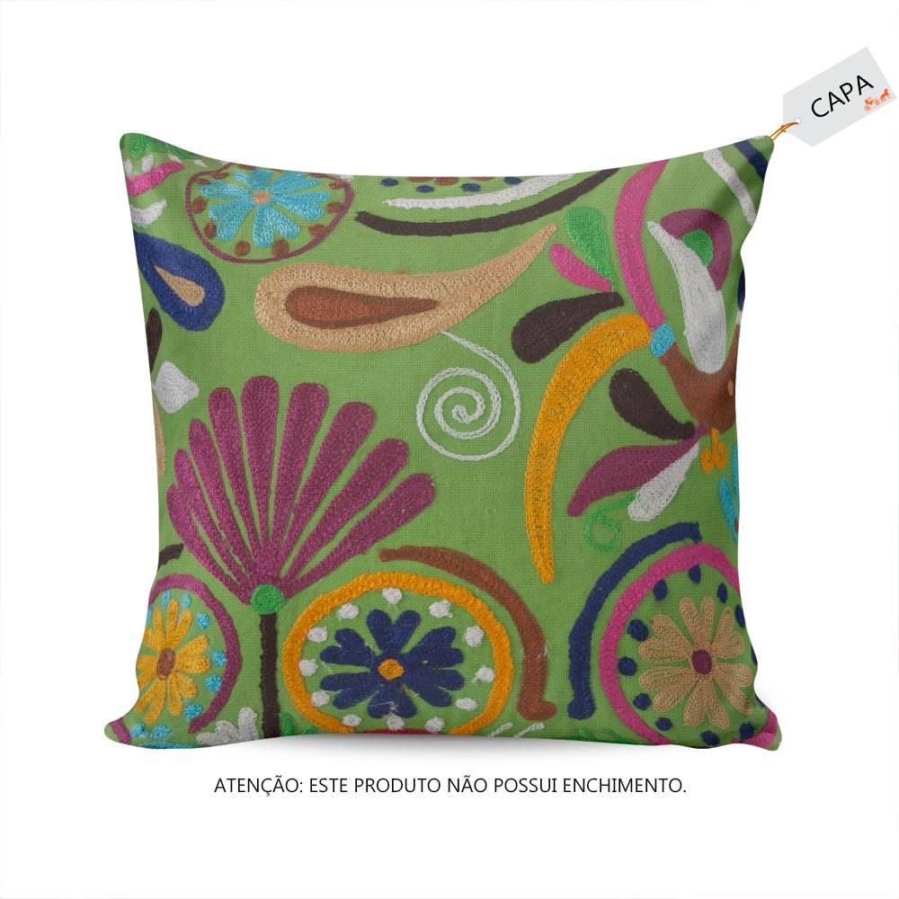 Capa para Almofada Mari Pompom Verde Floral em Algodão - 45x45 cm
