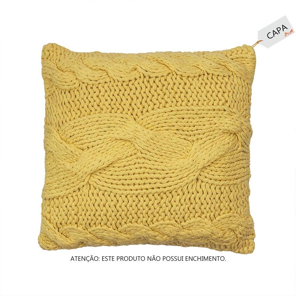 Capa para Almofada Milla Amarela em Algodão - 45x45 cm