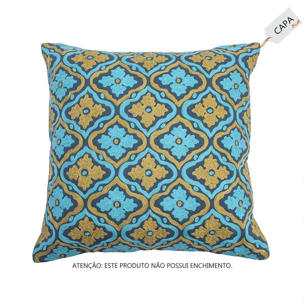 Capa para Almofada Miranda Azul em Algodão - 45x45 cm