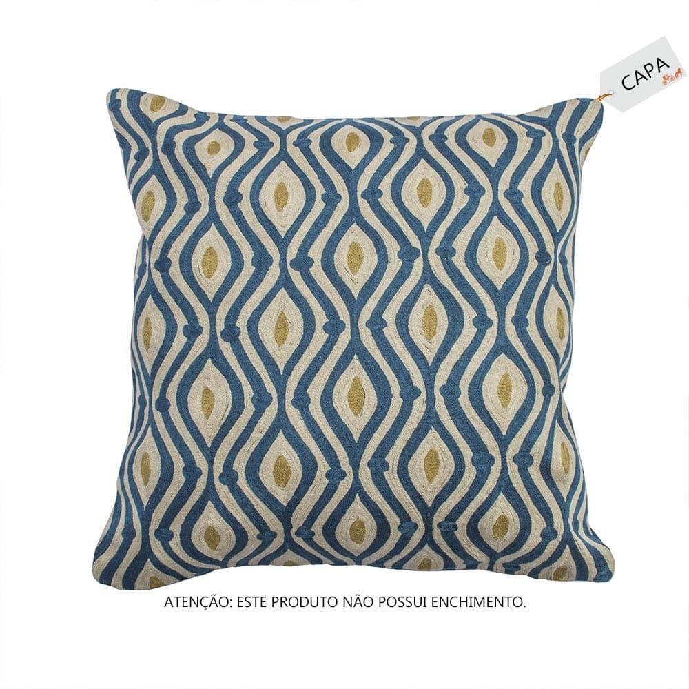 Capa para Almofada Naila Azul em Algodão - 45x45 cm