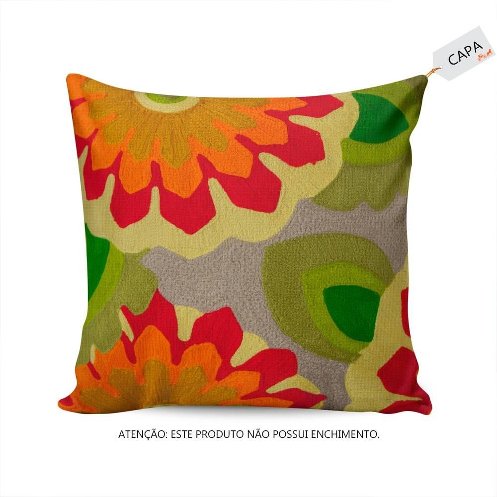 Capa para Almofada Nataly Floral Colorida em Algodão - 45x45 cm