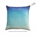 Capa p/ Almofada Ombre Azul em Algodão e Veludo - 45x45 cm