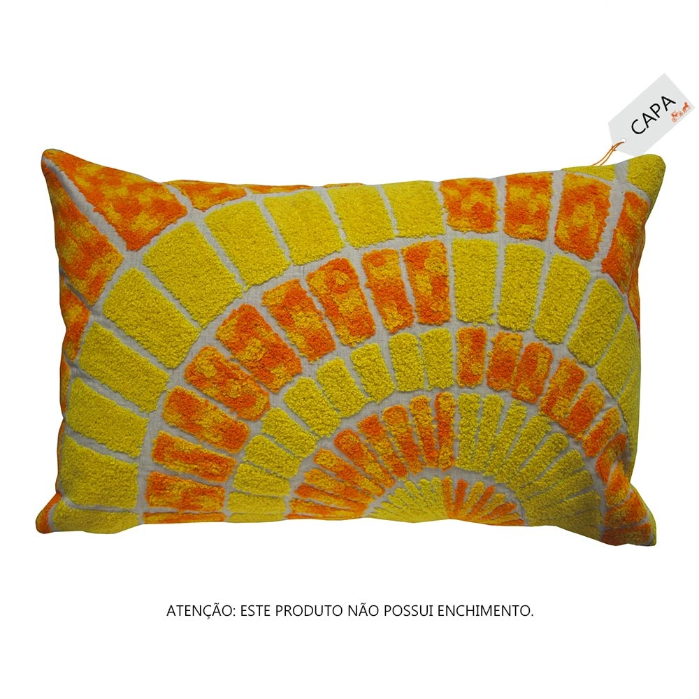 Capa para Almofada Oracle Laranja e Amarelo em Algodão - 45x45 cm