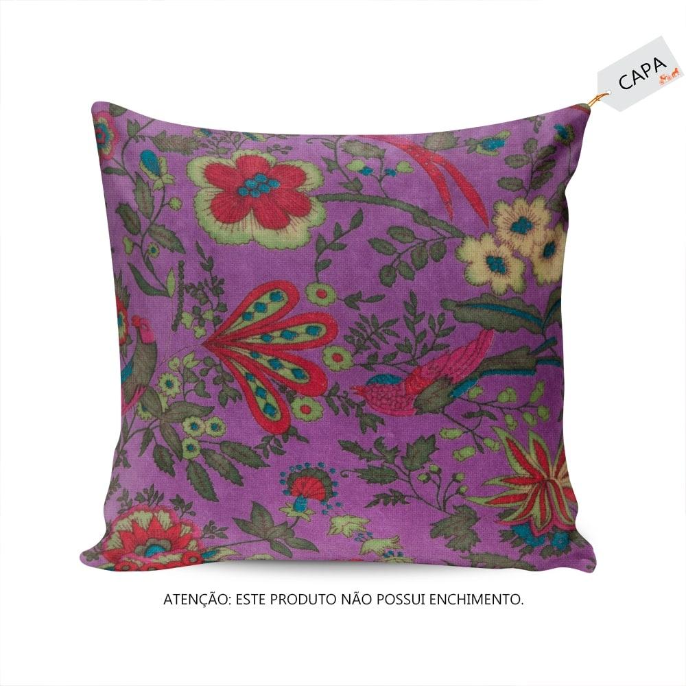 Capa para Almofada Pompom Flores e Pássaros Roxa em Algodão - 45x45 cm