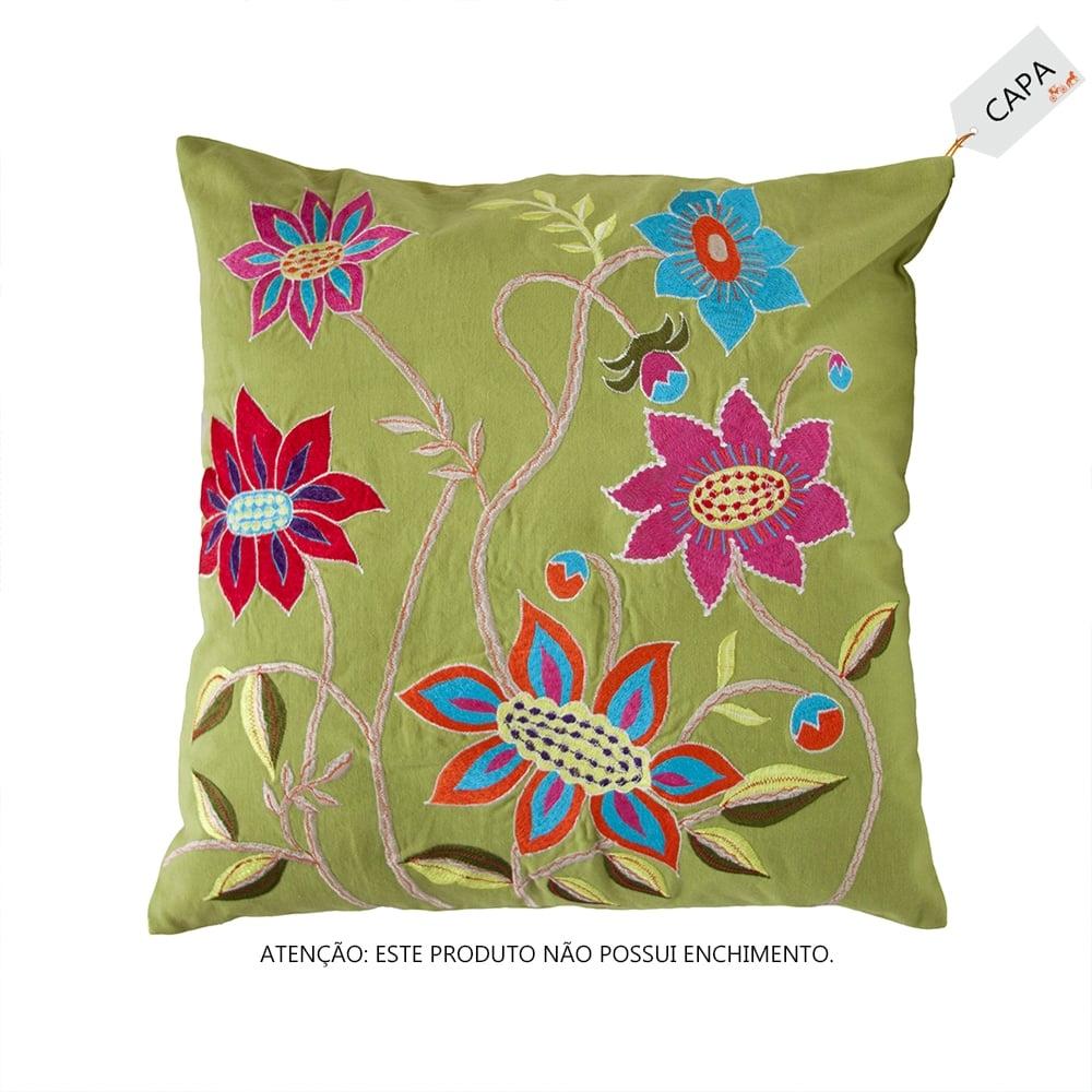 Capa para Almofada Poppy Verde em Algodão - 45x45 cm