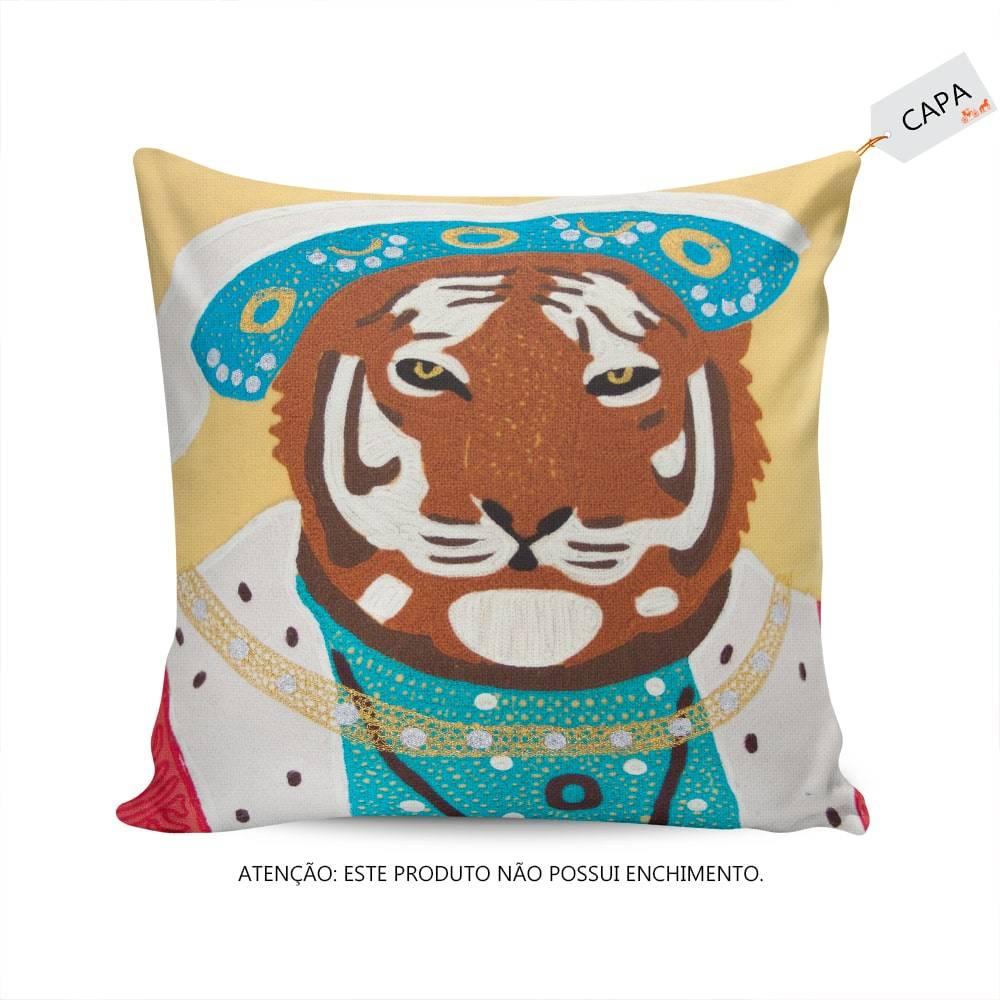 Capa para Almofada Príncipe Leão Amarela em Algodão - 45x45 cm
