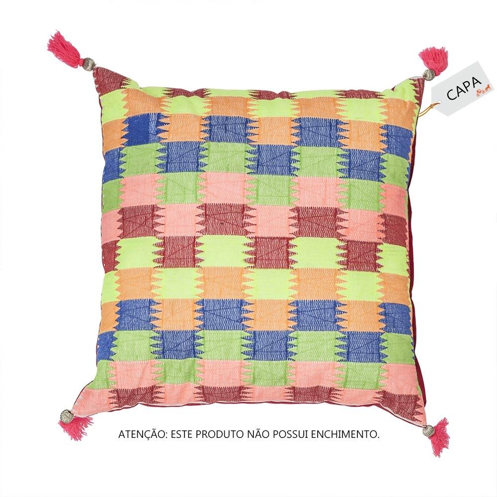 Capa para Almofada Quadricolor Colorida em Algodão - 45x45 cm