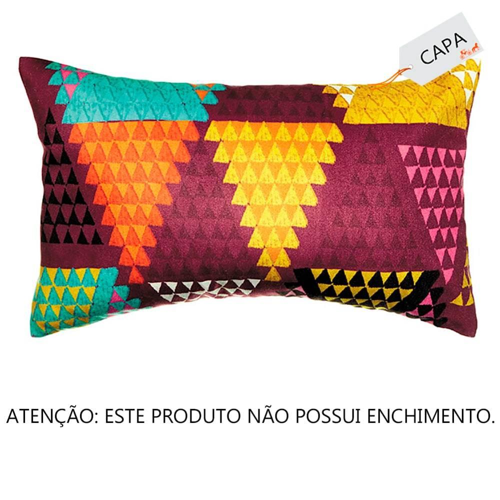 Capa Para Almofada Retangular Triângulos Coloridos em Tecido - 50x30 cm