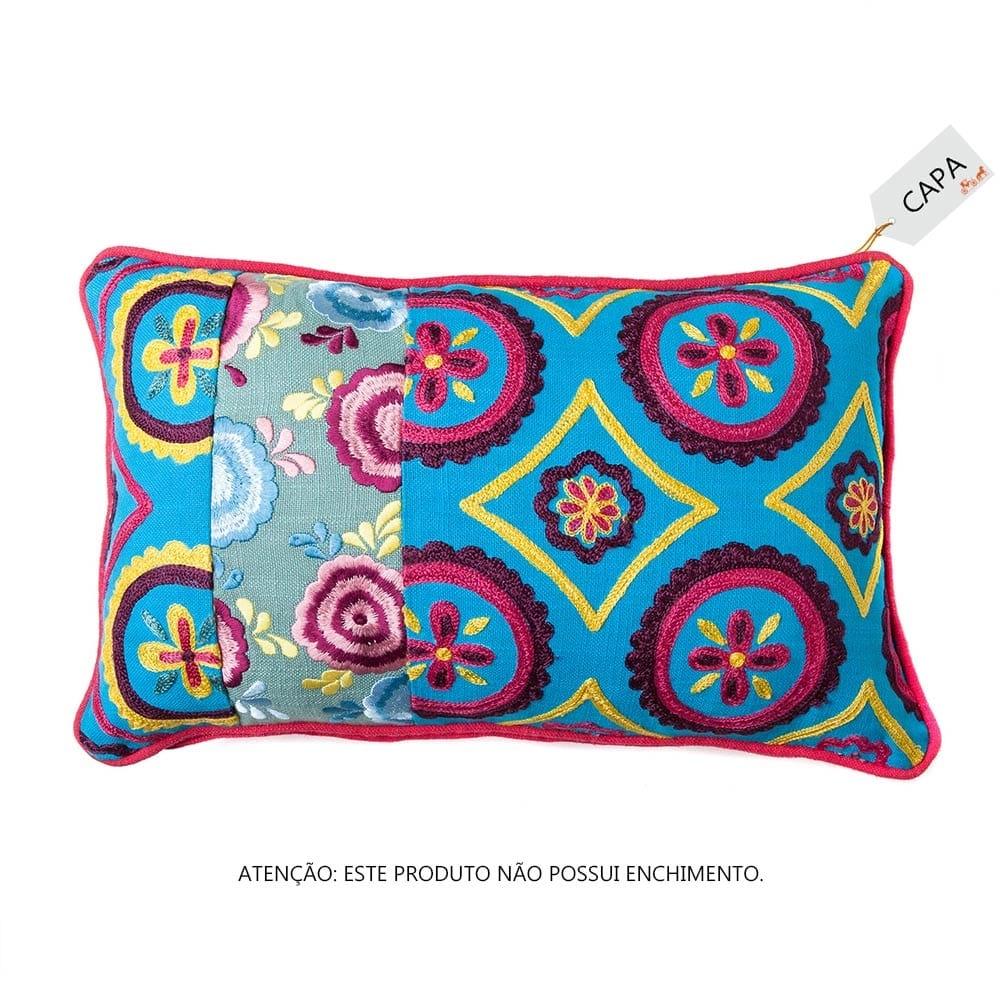 Capa para Almofada Savana Rosa e Azul em Algodão - 45x45 cm