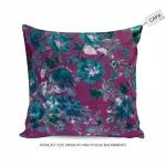 Capa para Almofada Sheila Floral Roxa em Algodão - 45x45 cm