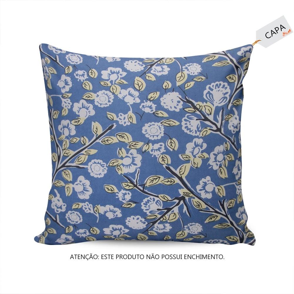 Capa para Almofada Suzan Floral Azul em Algodão - 45x45 cm