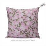 Capa para Almofada Suzan Floral Rosa em Algodão - 45x45 cm