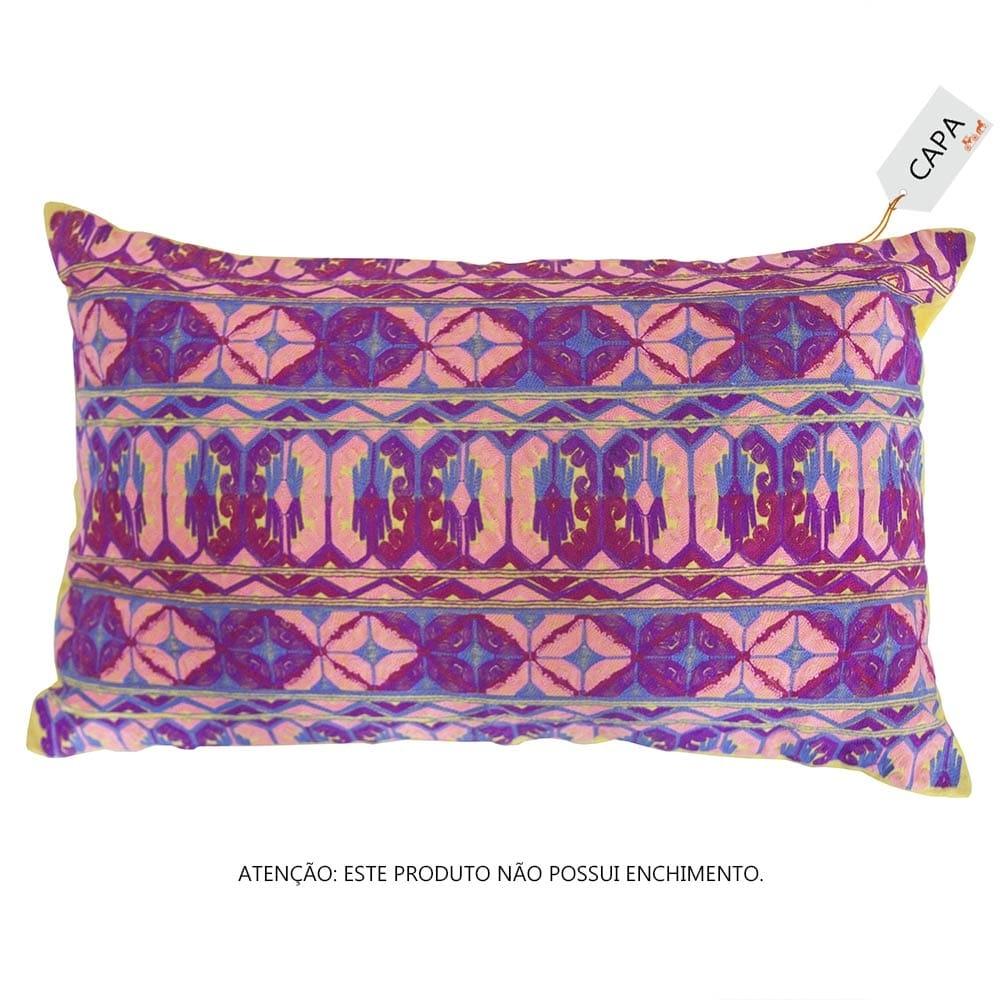 Capa para Almofada Taly Wave Rosa em Algodão - 50x30 cm