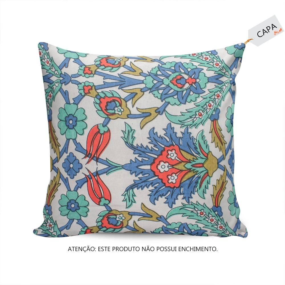 Capa para Almofada Tammy Floral Colorida em Algodão - 45x45 cm
