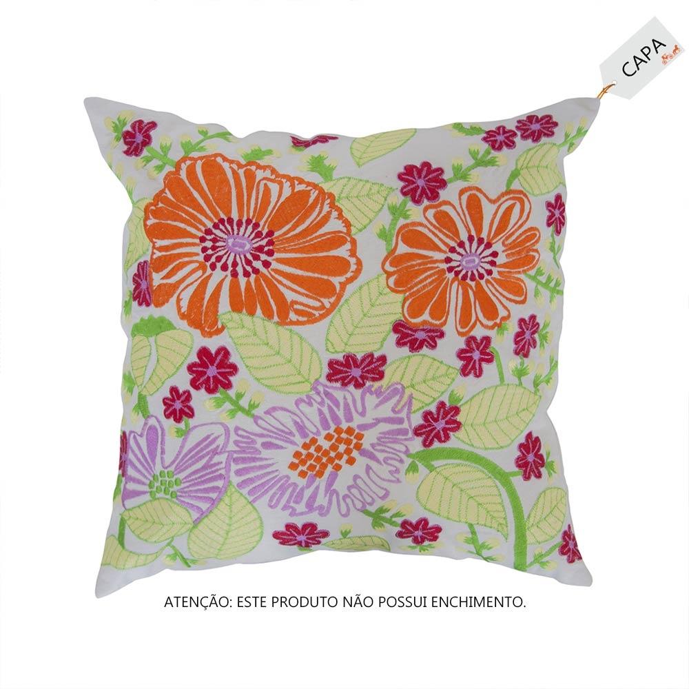 Capa para Almofada Tulip Pretty Colorida em Algodão - 45x45 cm