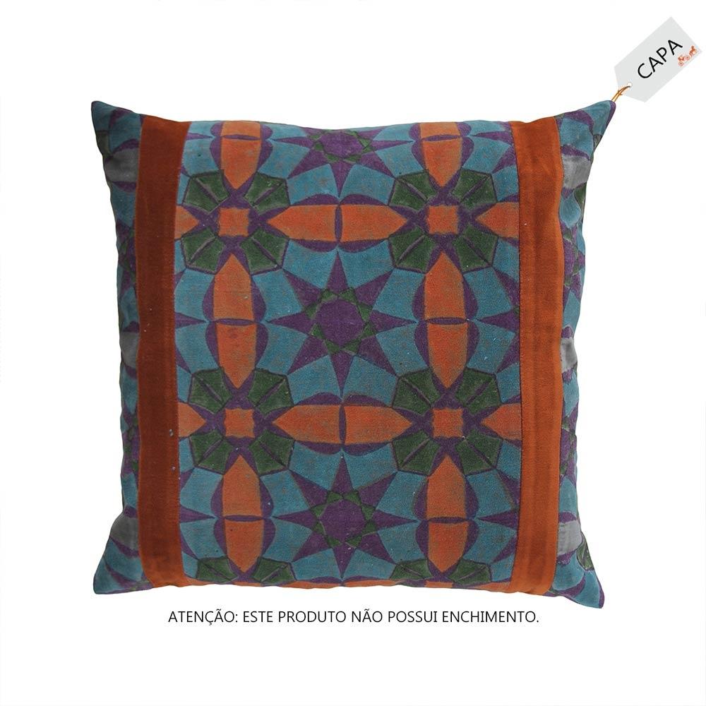 Capa para Almofada Velvet Kendra Colorida em Algodão - 45x45 cm