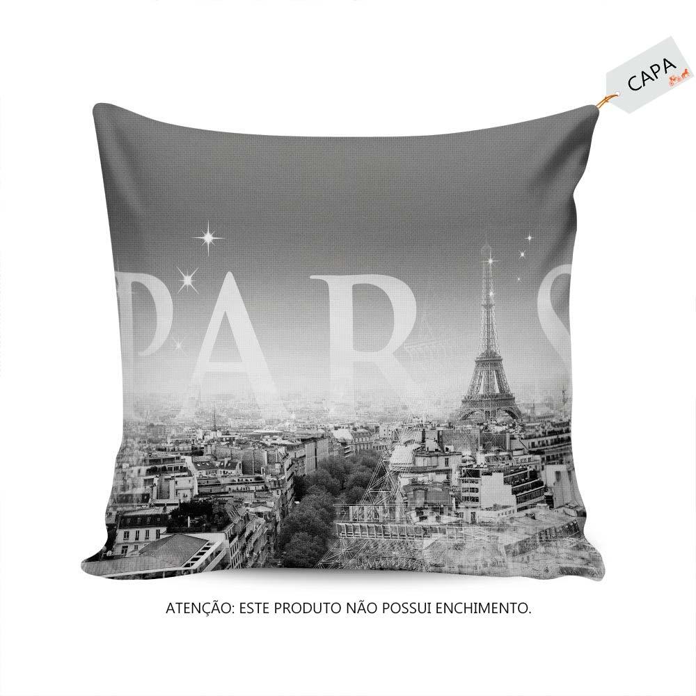 5c3e3576980747 Capa para Almofada Visão da Cidade de Paris em Microfibra - 42x42 cm