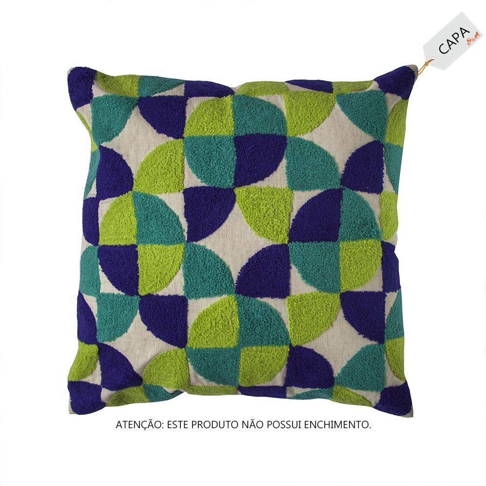 Capa para Almofada Vivare Azul e Verde em Algodão - 45x45 cm