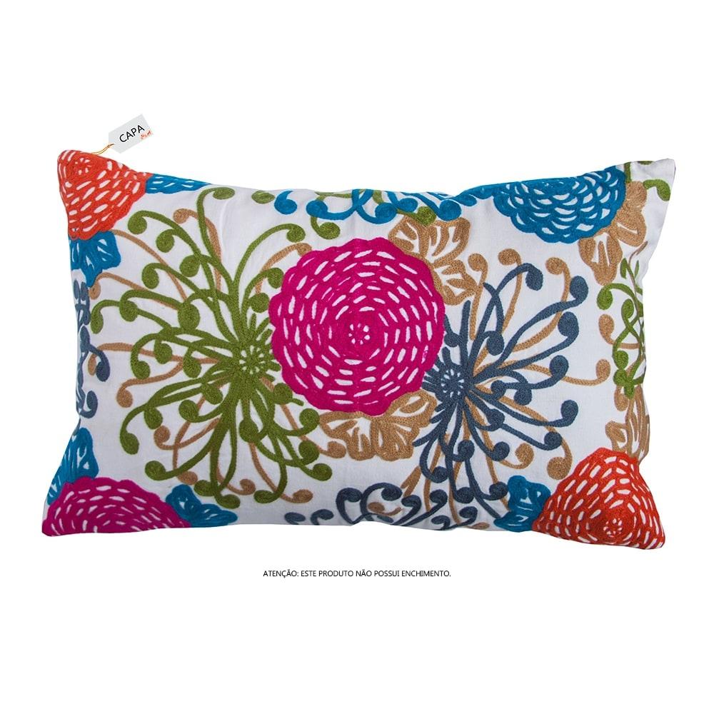 Capa para Almofada Tífani Floral Colorida em Algodão - 50x30 cm