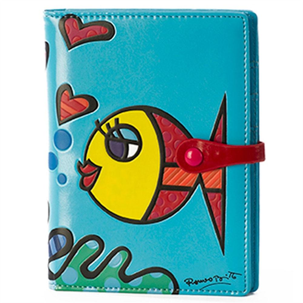Capa para Passaporte Fish - Romero Britto - Azul em Courino - 16x12 cm
