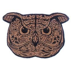 Capacho Big Owl Preto e Bege em Fibra de Coco - Urban