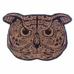 Capacho Big Owl Preto e Bege em Fibra de Coco - Urban - 66x45 cm