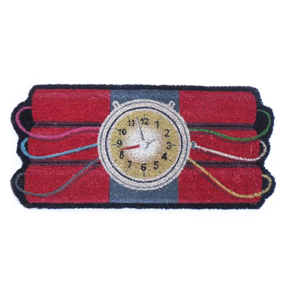 Capacho Bomba Relógio Vermelho em Fibra de Coco e PVC - Urban - 75x35 cm