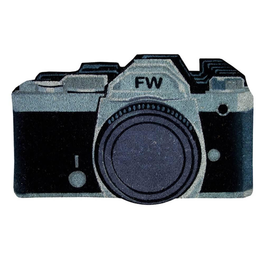 Capacho Câmera Preta com Base em PVC - Urban - 75x45 cm