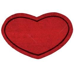 Capacho Coração Vermelho com Base em PVC - Urban - 75x45 cm