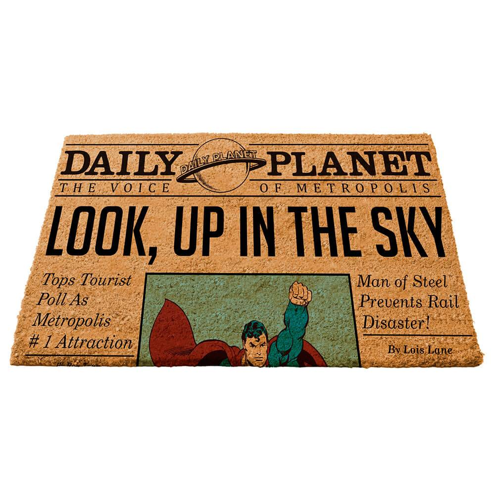 Capacho DC Comics Newspaper Colorido em Fibra de Coco - Urban - 75x45 cm