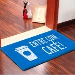 Capacho Entre com Café! Emborrachado Azul - 60 cm x 40 cm - Carpet Black
