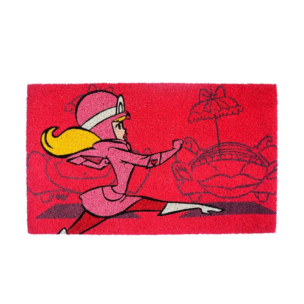 Capacho Hanna Barbera Wacky Race Penelope em Fibra de Coco e PVC - Urban - 75x45 cm