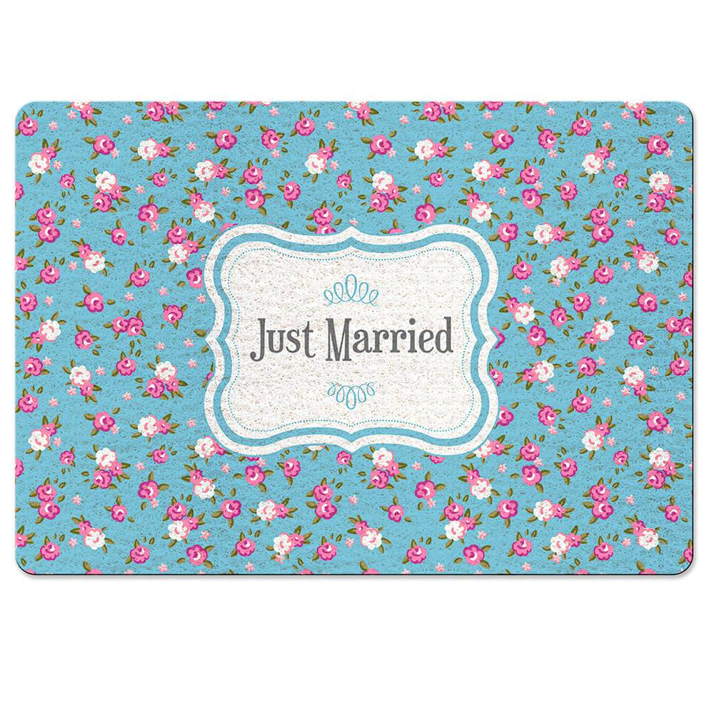 Capacho Just Married Azul em Fibra de Coco e PVC - Urban - 70x45 cm