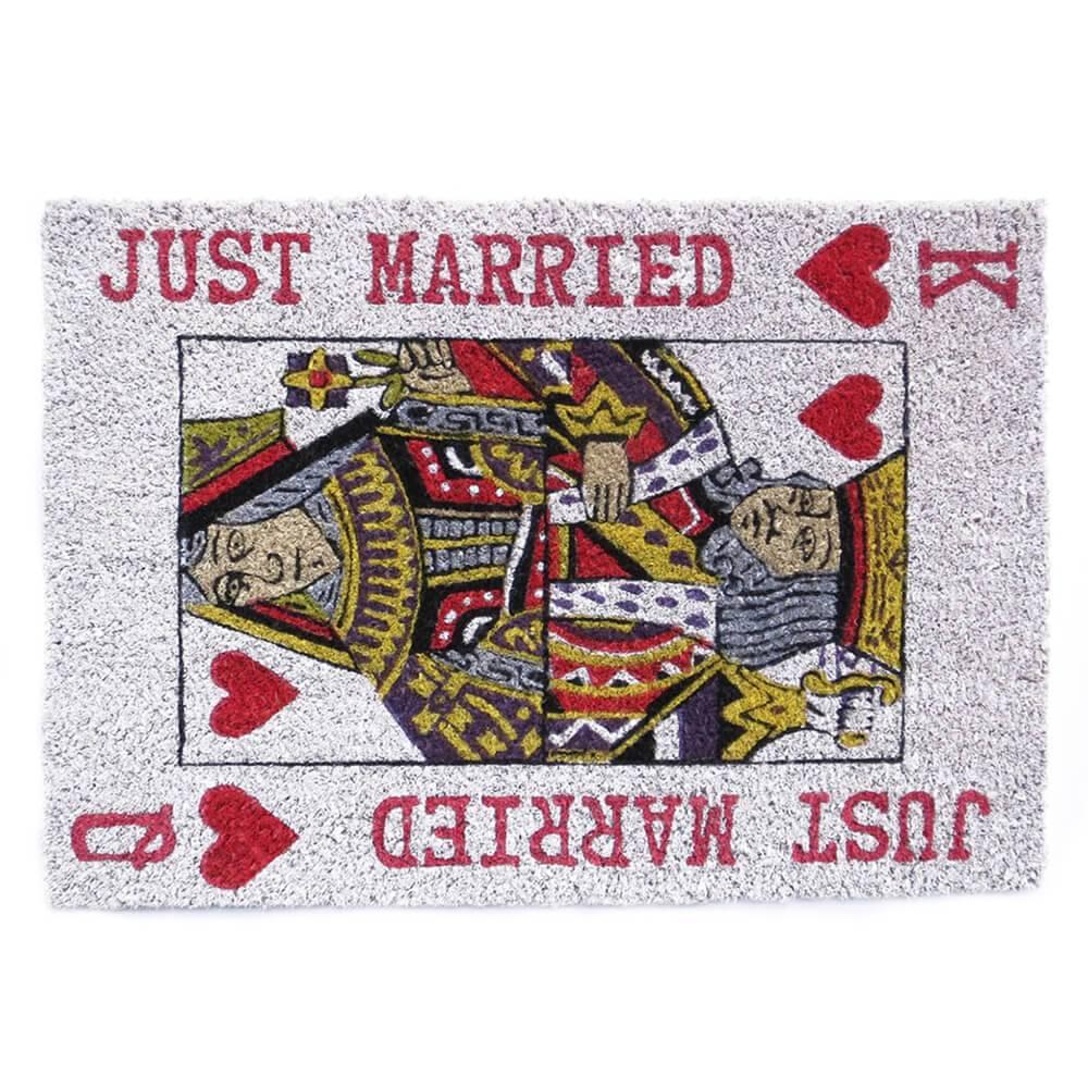 Capacho King Queen Just Married em Fibra de Coco e PVC - Urban - 64x45 cm