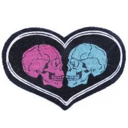 Capacho Love Skull Preto em Fibra de Coco e PVC - Urban