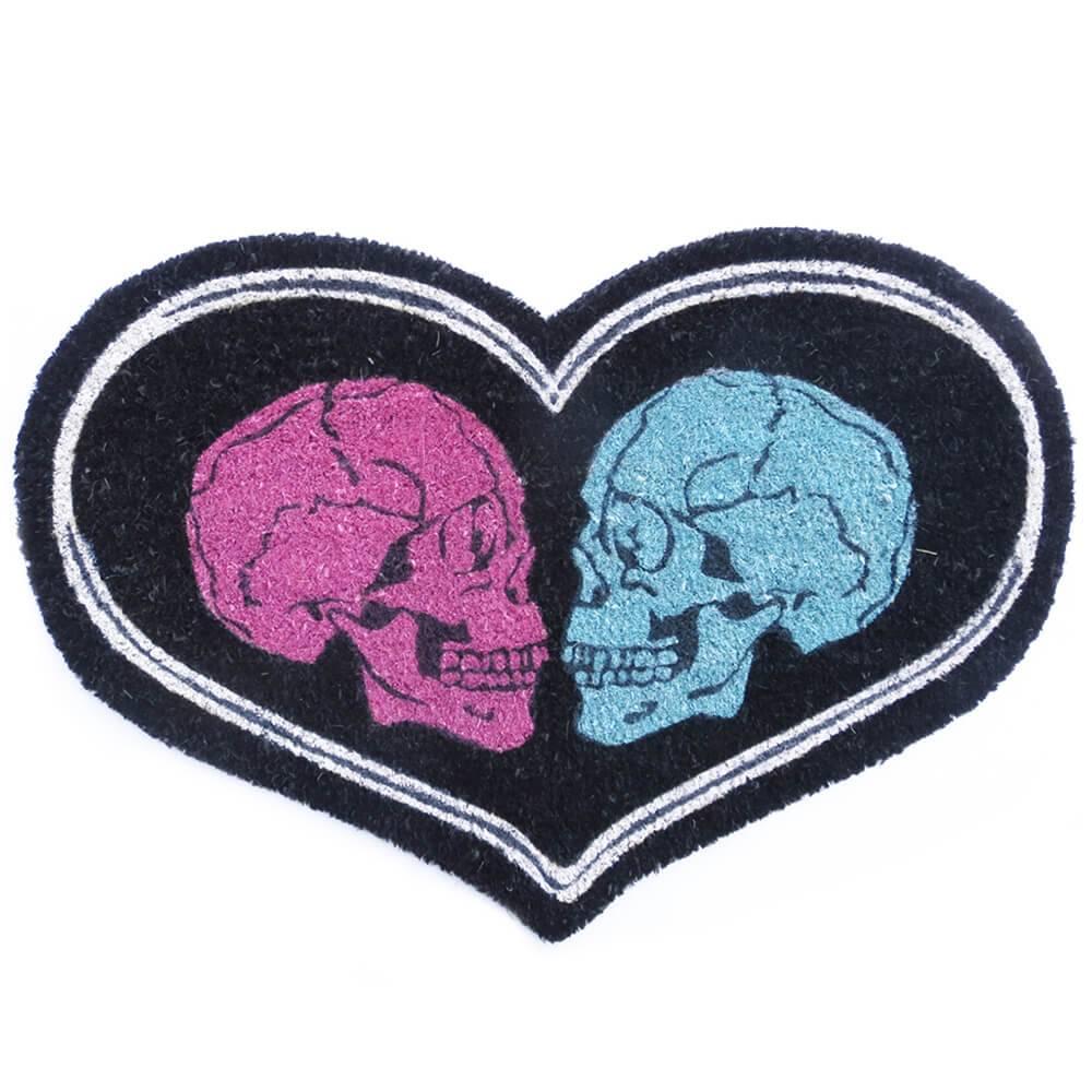 Capacho Love Skull Preto em Fibra de Coco e PVC - Urban - 67x45 cm