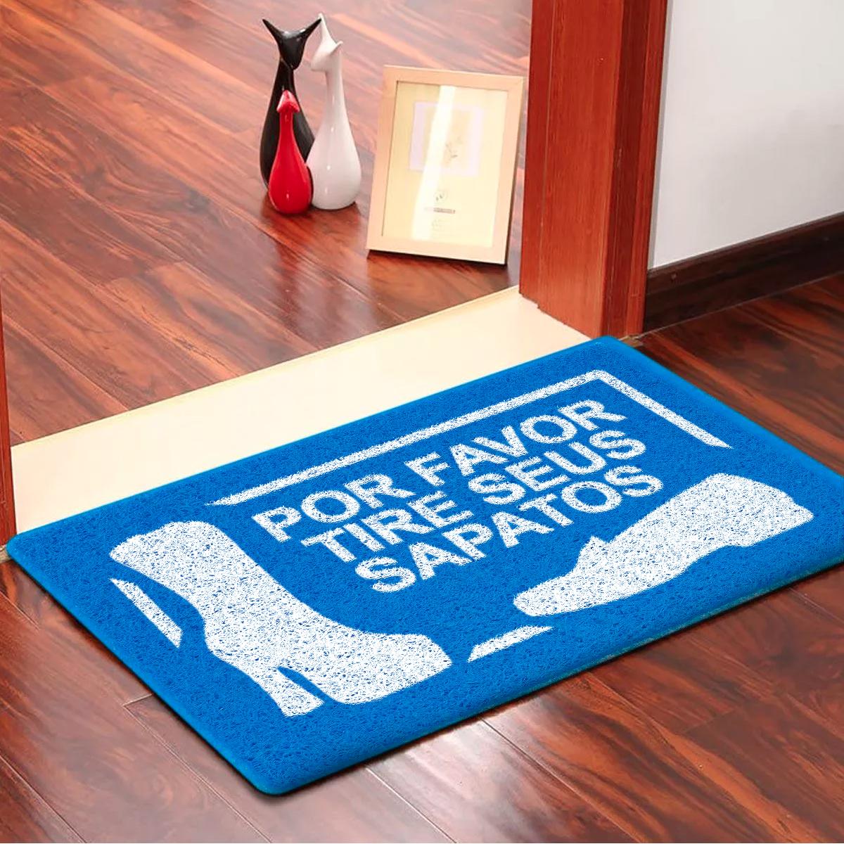Capacho Por Favor Tire Seus Sapatos Emborrachado Azul - 60 cm x 40 cm - Carpet Black