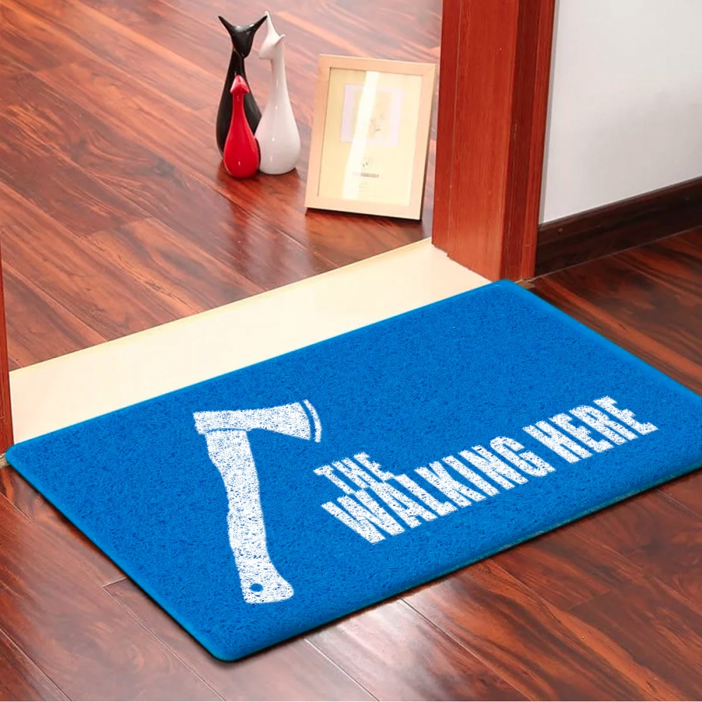 Capacho The Walking Here Emborrachado Azul - 60 cm x 40 cm - Carpet Black