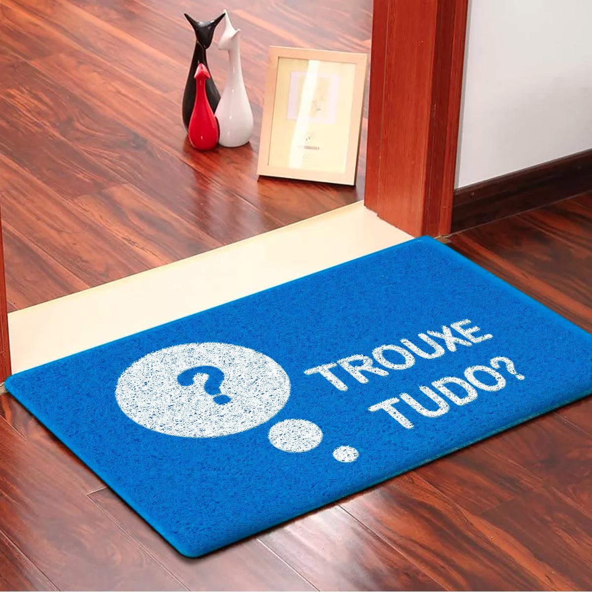 Capacho Trouxe Tudo? Emborrachado Azul - 60 cm x 40 cm - Carpet Black
