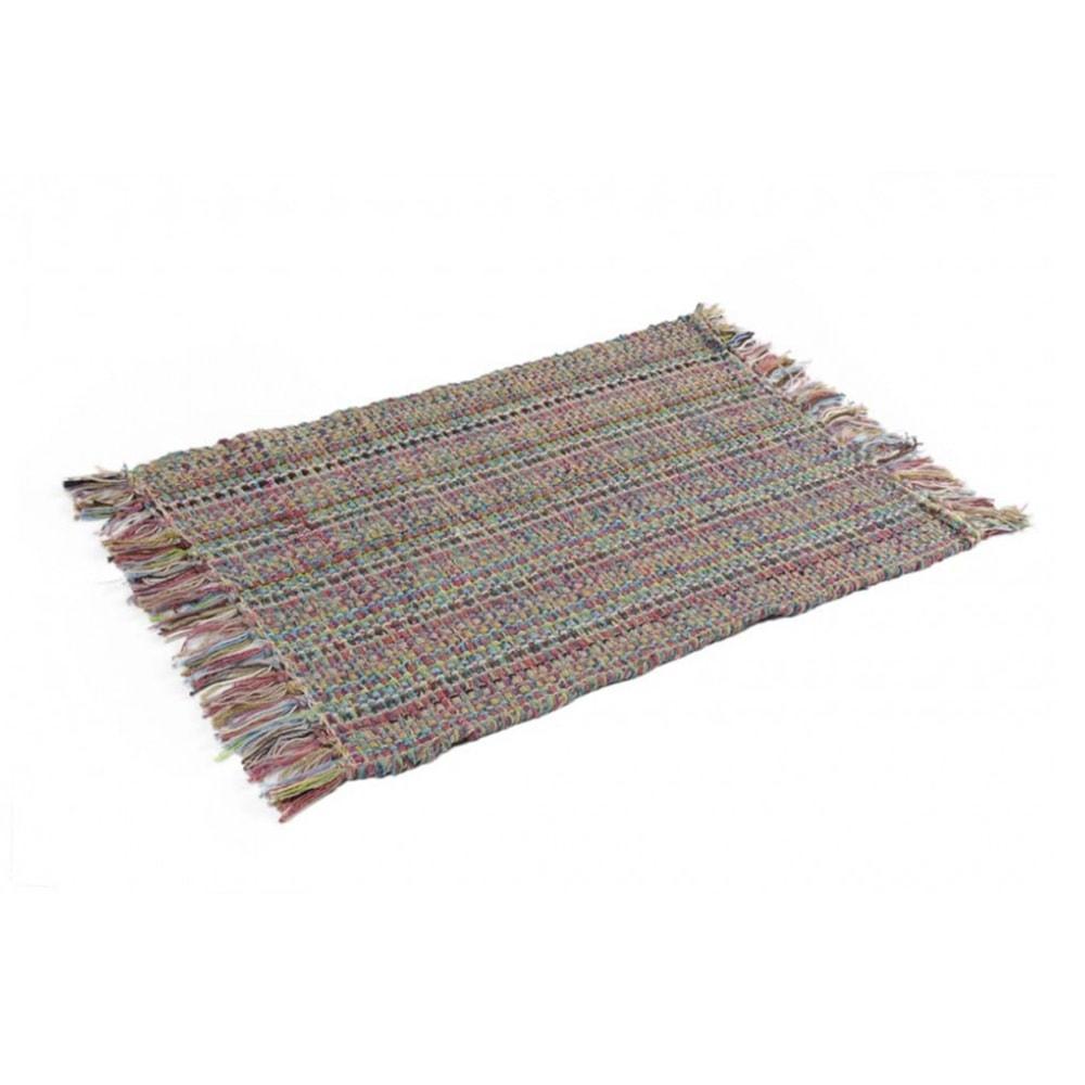 Capacho/Tapete Multicolorido com Franjas Pequeno em Algodão - 60x40 cm