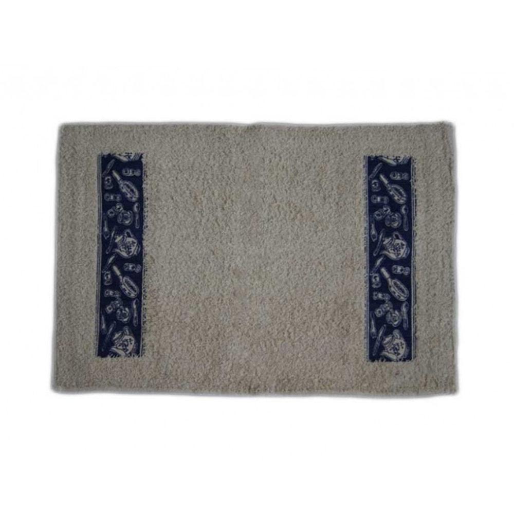 Capacho/Tapete Retangular Elementos de Cozinha Azul em Algodão - 60x40 cm