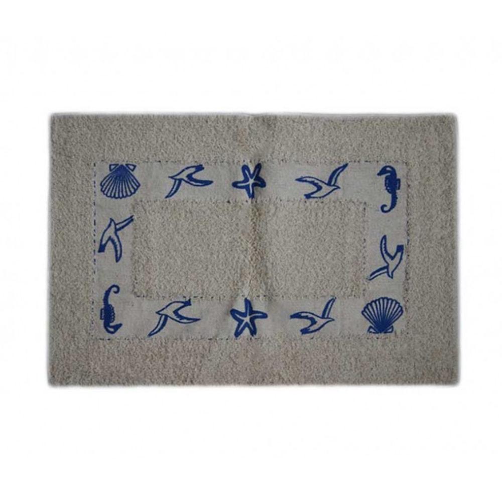 Capacho/Tapete Retangular Elementos do Mar Azul em Algodão - 60x40 cm