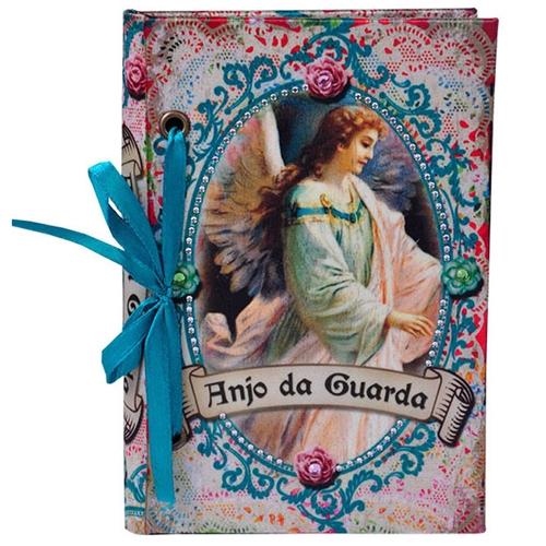 Carderno de Anotações Anjo da Guarda em Madeira - 15x10 cm