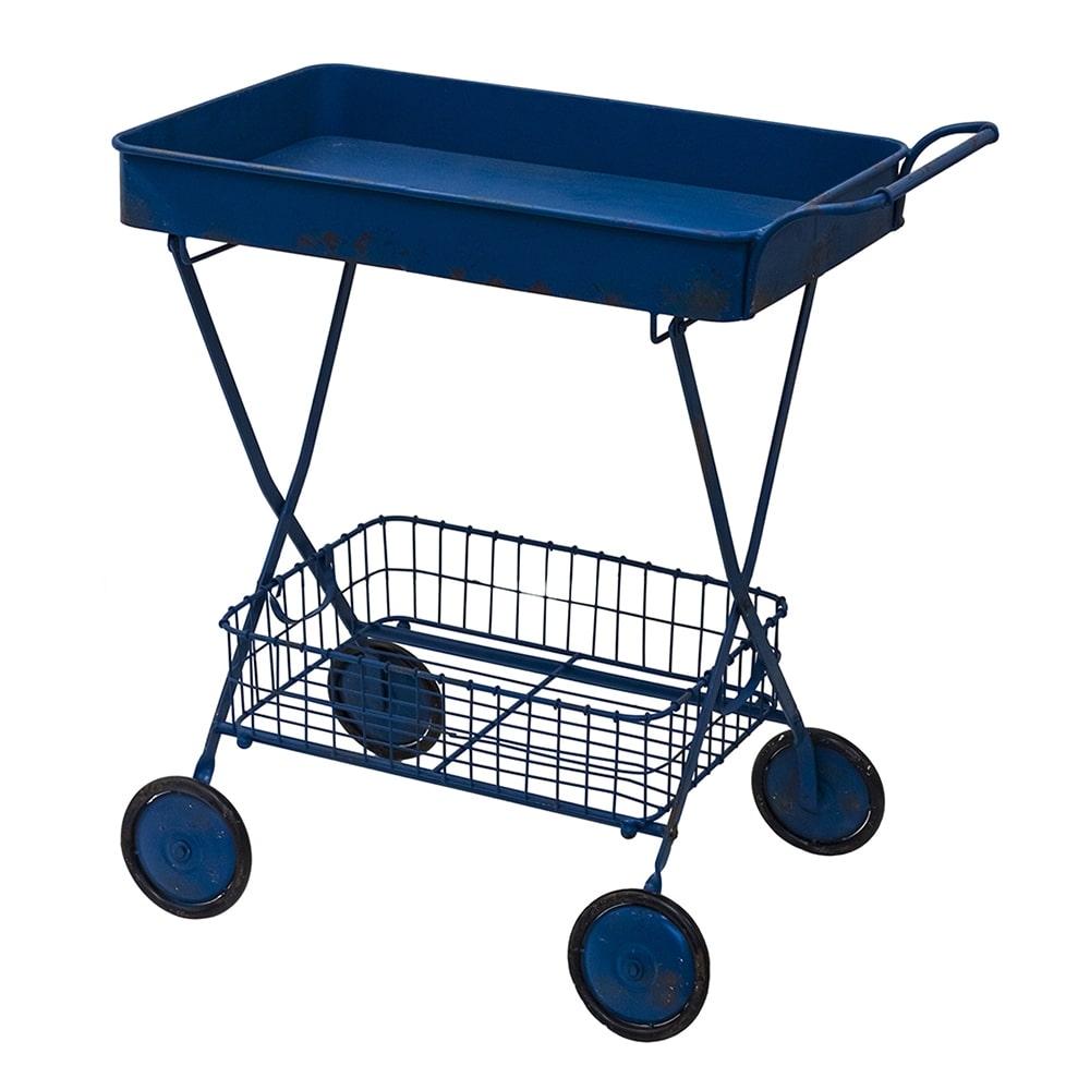 Carrinho Multiuso com Rodízios Retrô Azul em Ferro - 84x79 cm