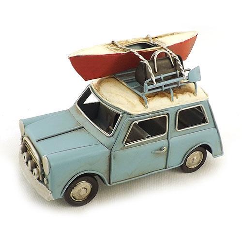 Carro Aventureiro Azul com Canoa Remo e Mala Oldway - Metal - 16x11cm