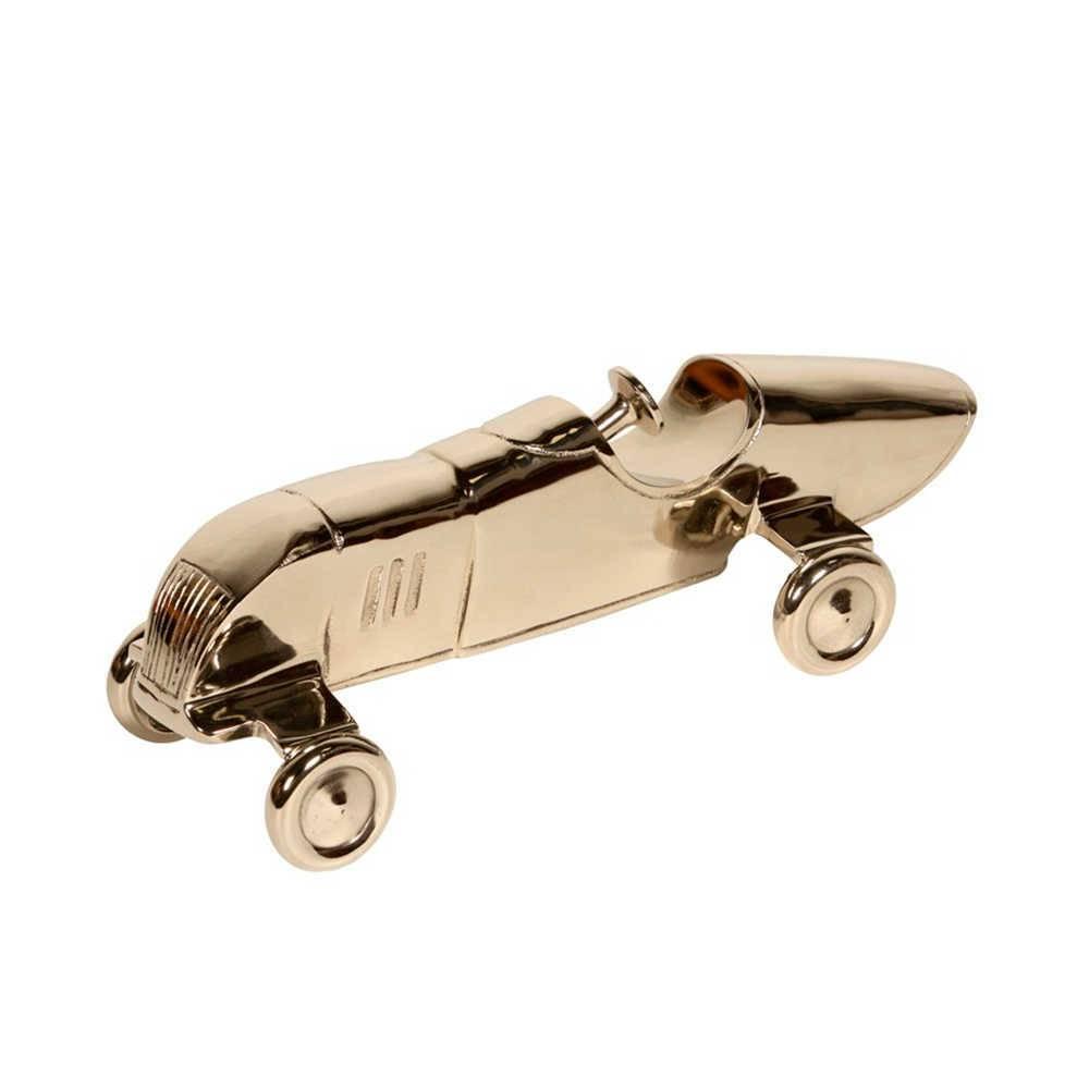 Carro de Corrida Decorativo Prata em Metal com Banho de Níquel - 37x13 cm